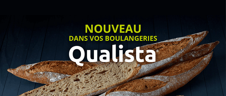 """3 baguettes qualista sur fond noir avec un texte """"nouveau dans vos boulangeries Qualista"""""""