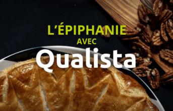 """galette des rois sur fond noir avec des noix de pécan et un texte """"L'épiphanie avec Qualista"""""""